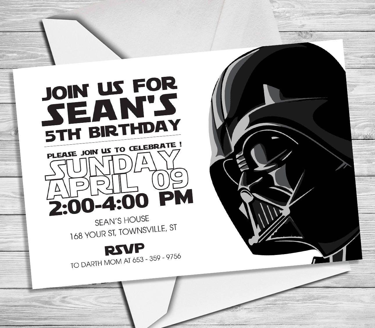 Star Wars Invitation Star Wars Party Invitation Star Wars | Etsy