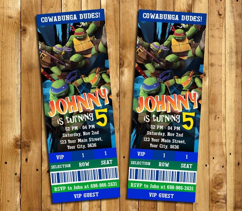 NiNinja Turtles Invitation Ninja Birthday Invite Ticket Turtle Party