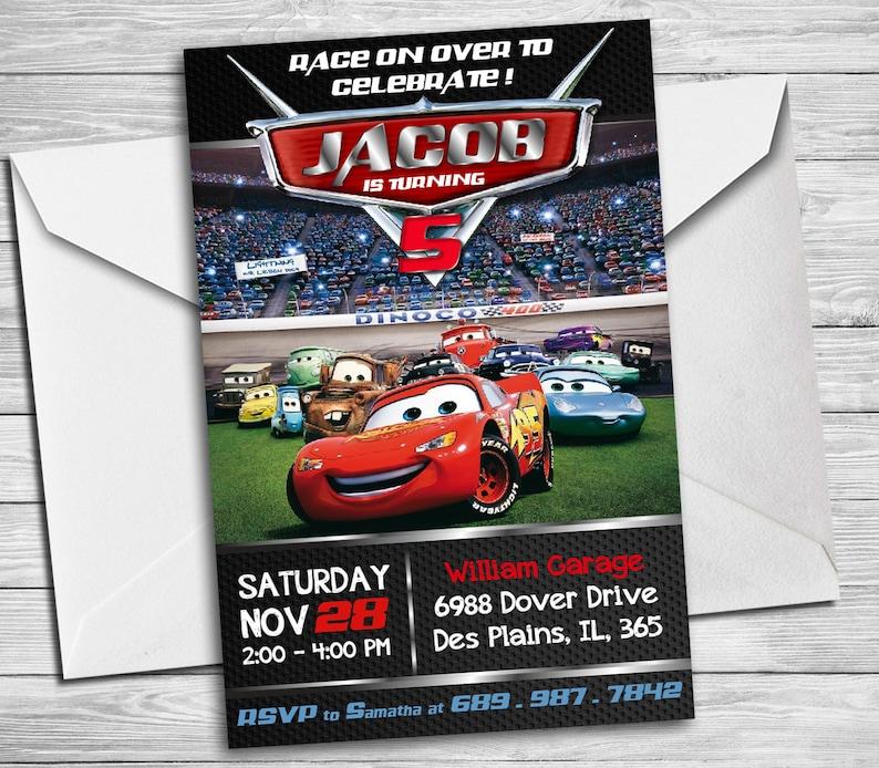 Cars Birthday Invitation Mater And Lightning McQueen