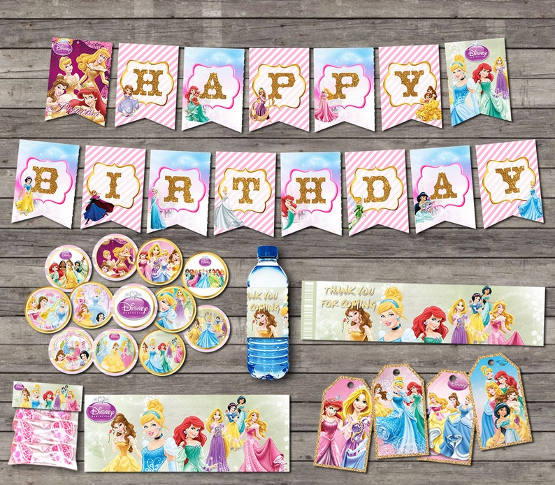 """Official Licensed /""""DISNEY PRINCESSES/"""" Gift Wrap Sheets And Tags x 2"""