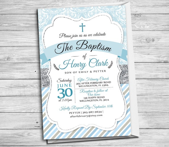 Baptism Invitation Boy Printable