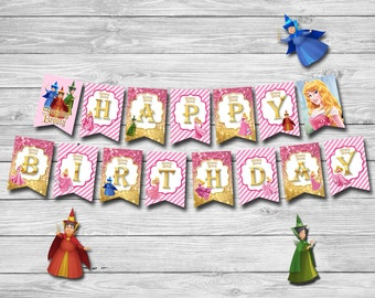 Disney Princess Aurora Banner, Sleeping Beauty Banner, Instant Download, Printable Party Favors | MAU_BANNER