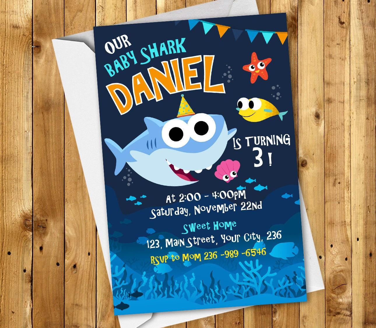 Baby Shark Birthday Invitation Party