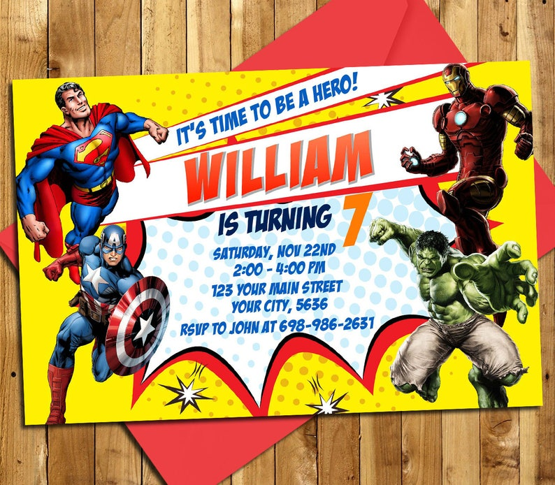 Superheroes Invitation Birthday