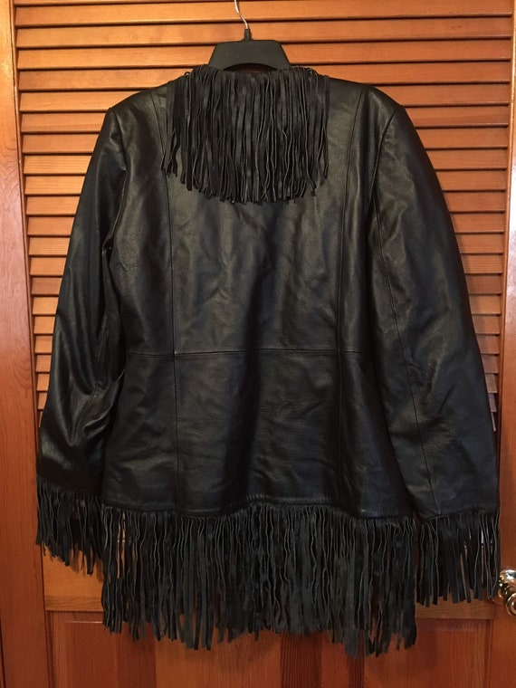 Vintage Leather Fringe Jacket - image 4