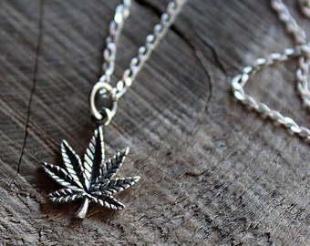Cannabis Necklace | Pot Leaf Charm Necklaces | Sterling Silver .925 | Nature Lover Leaf Charm