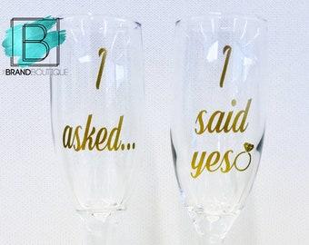 I Asked, I Said Yes!   Engagement Champagne Flutes   Set of 2