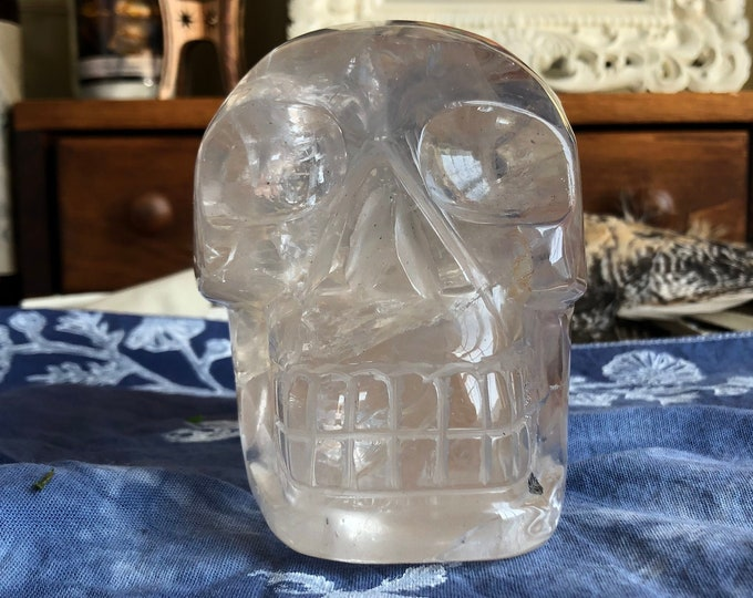 Brazilian Citrine Quartz Skull with Hematite