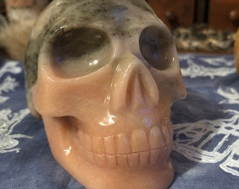 Pink and Gray Dolomite Skull by Walmere