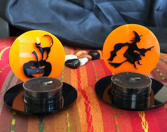 Black Witch and Cat Tea Light Holders