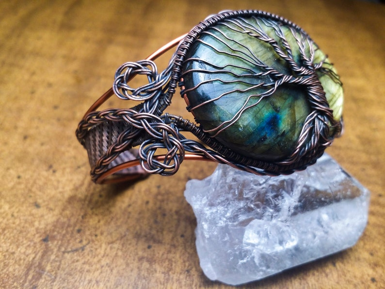 Wire Wrapped Bracelet Tutorial Tree of Life Cuff Bangle Copper Braided Woven Twisted Weaving Wrapped Wrap Making How To Kit DIY PDF Pattern