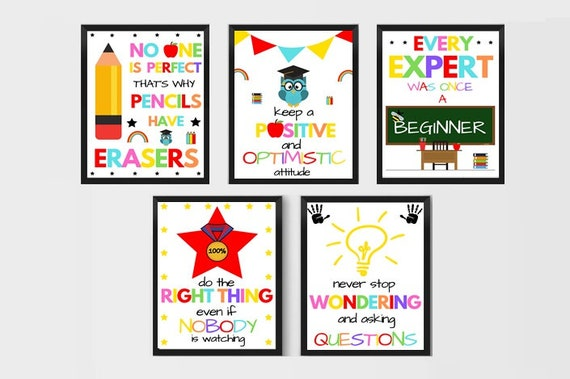 photograph relating to Printable Classroom Posters identified as Inspirational Small children Rates Useful Posters Motivational Quotations For Youngsters Clroom Decor Prints For Academics Clroom Decorations