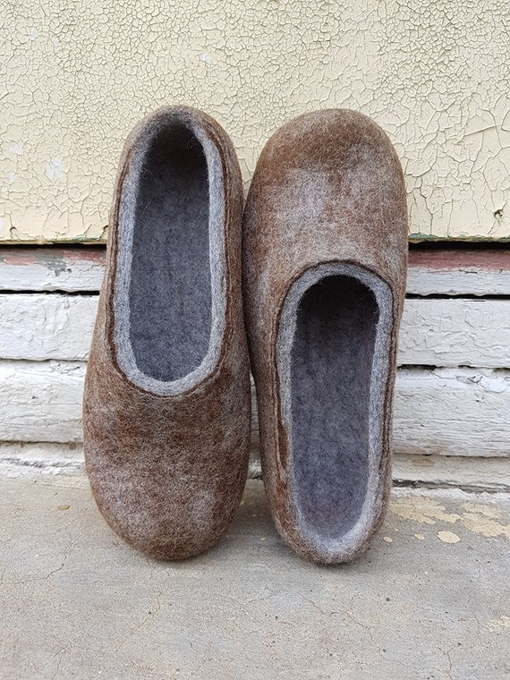 b23de6bb4c3f1 Handmade eco friendly felted slippers from natural wool grey | Etsy