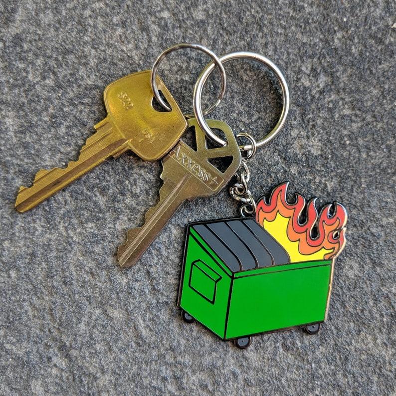 Dumpster Fire Enamel Keychain image 0