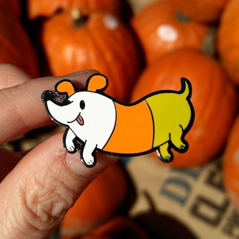 Candy Corn Dog Hard Enamel Pin image 0