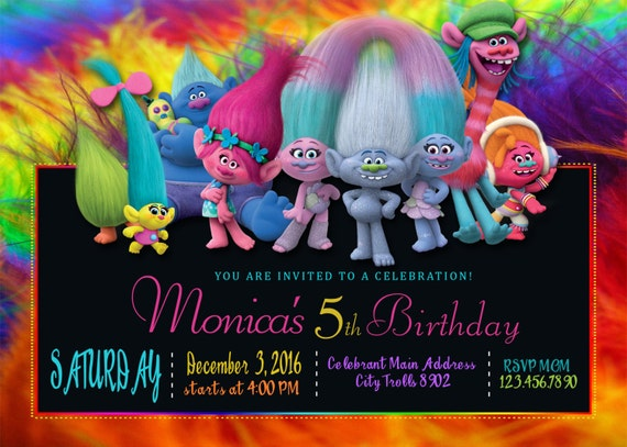 photograph relating to Trolls Printable Invitations titled Trolls Birthday Invitation, Trolls Invites, Trolls Invitations, Trolls Printables + Totally free Thank Oneself Card