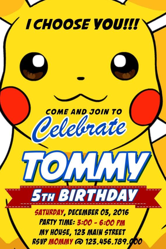 pokemon invitations pikachu invitation pokemon birthday etsy