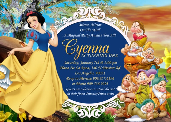 photo regarding Snow White Invitations Printable named Snow White 7 Dwarfs Birthday Invitation, Snow White Invitation, Snow White Birthday, Snow White Printables + Thank Your self Card