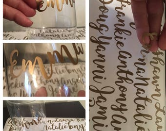 Personal Name Decals/Custom Glass labels/Wine Glass Decal/stemless glass decal/Wine Glass label/Bachelorette Party/Wine Glass Stickers