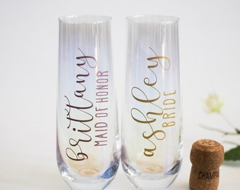Personalized bridal party champagne flute decals - Bridesmaid Gifts
