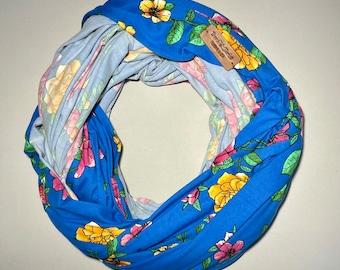 Travel Tube Blanket, Airplane Blanket, Malong, DBP Blue Floral