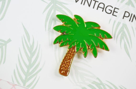Vintage 80s  90s Pins Palm Tree Vintage Cactus Pins Tree and Nature Plant Brooch Metal Rock Resin Email Brooch Potted Plants