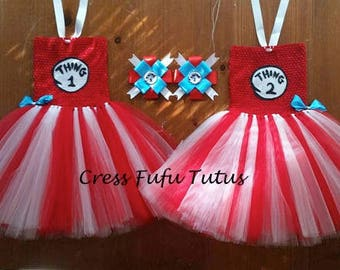 Toddler Thing 1 and Thing 2 Tutu Costumes|Dr. Seuss Toddler Costume|Girlu0027s Thing 1 and Thing 2 Costumes|Toddler Halloween Costume  sc 1 st  Etsy & Halloween costume girl thing 1 2 | Etsy