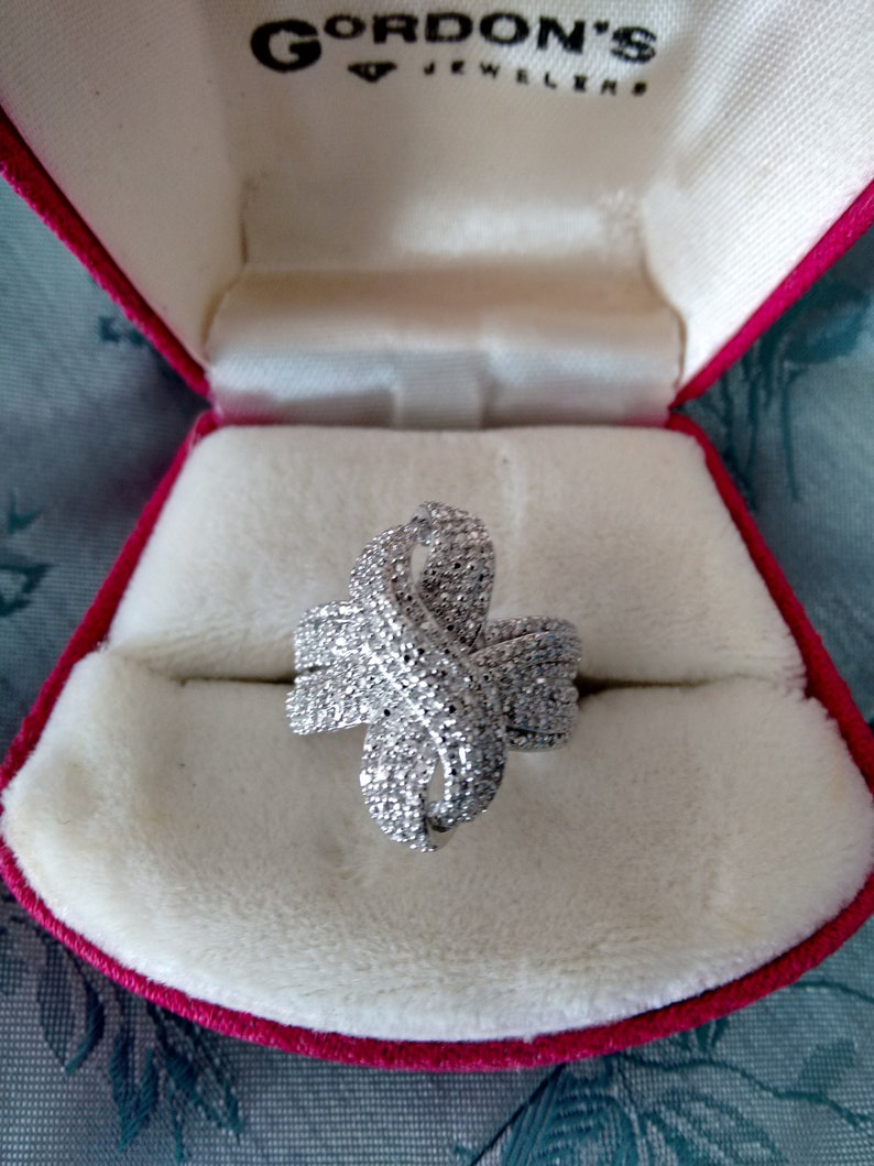 Diamond ring anniversary ring statement ring diamonds in silver birthday for her gift for mom right hand ring pave diamond ring free ship