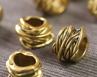 Lot of 10 Pieces Gold Tone Asymmetrical Artistic Alloy Tube Barrel Spacer Beads 11mm x 15mm x 8mm Large European Hole: 8mm