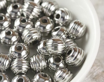 Beads Silver Grooved Round Beads 6mm