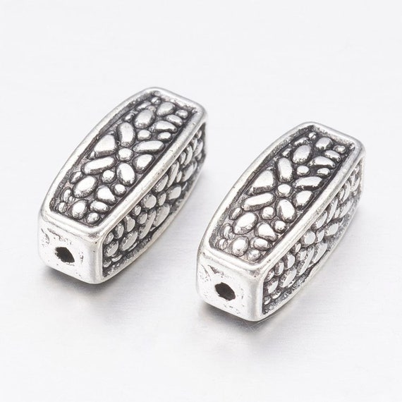 Silver Tone 10mm Long Flat Square Flower Floral Spacer Accent Beads 10 Piece Lot