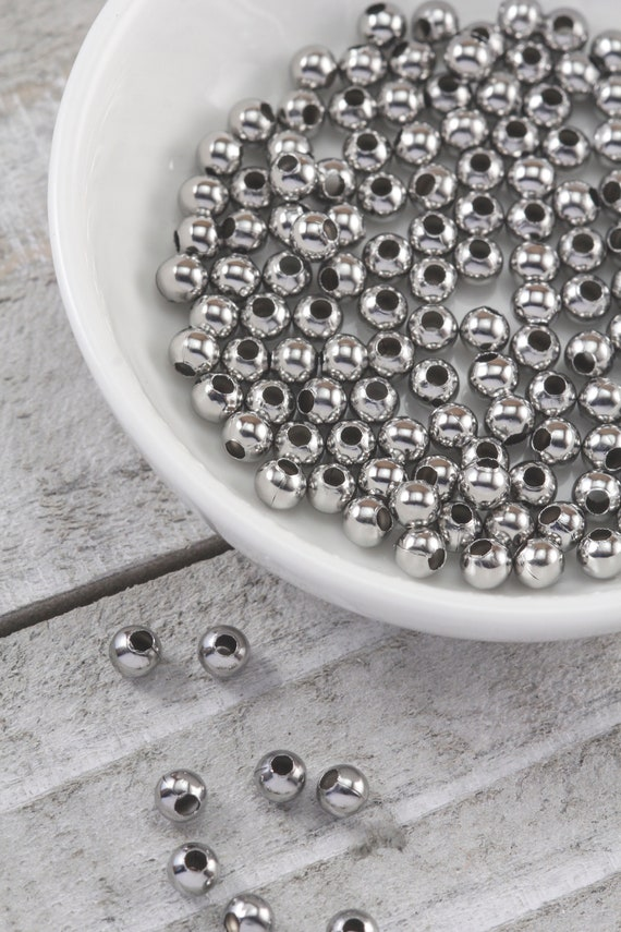 Stainless Steel Lot of 50 Round Silver 4mm x 4mm Spacer Accent Beads Hole 1.5mm