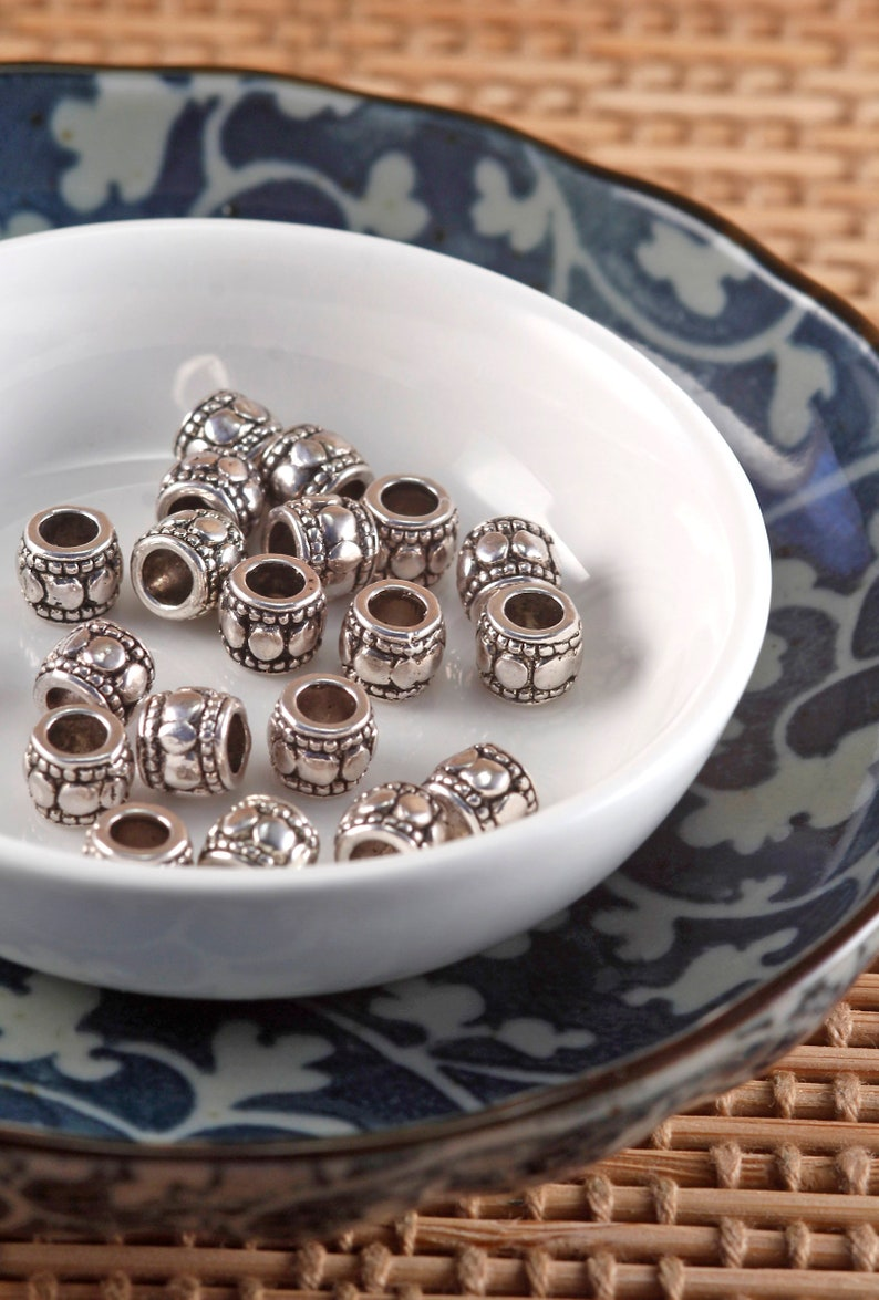 Lot of 10 Pieces Antique Silver Tone Alloy 6mm Ridged Round Beads Large Hole 1mm