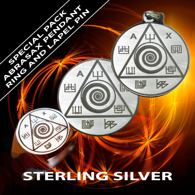 Abraxas Magic Lapel Pin,Silver Ring and pendant of Occult Spiritual Jewelry  Savings Pack