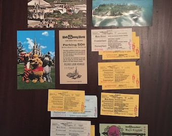 Vintage 1970's Walt Disney World Magic Kingdom Tickets