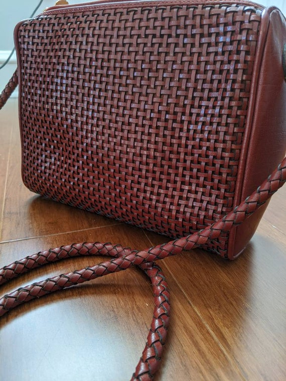 Vintage Medallion Brick Red Woven Leather Crossbod
