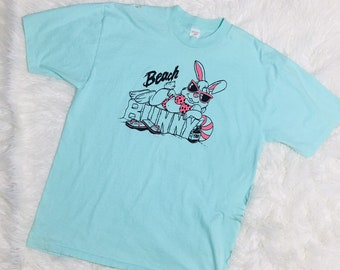 Vintage Surf T-Shirt Beach Bunny By Sea Cross 1964