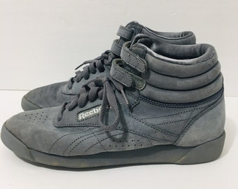 sale retailer 11647 9c798 Vintage Reebok Classic High Tops Gray Sneakers Womens 7.5 80s 90s Shoes