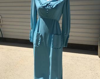 Vintage Polyester Hippie Boho Dress 60s 70s Blue Costume