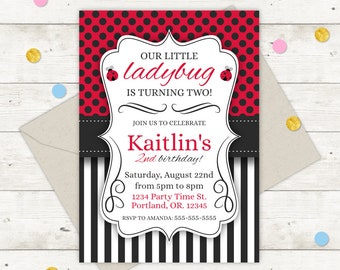 Ladybug Party Invitations Invitation Invite Printable 1st Birthday