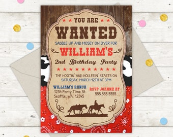 Cowboy Birthday Invitation Party Western Wanted Theme Boy