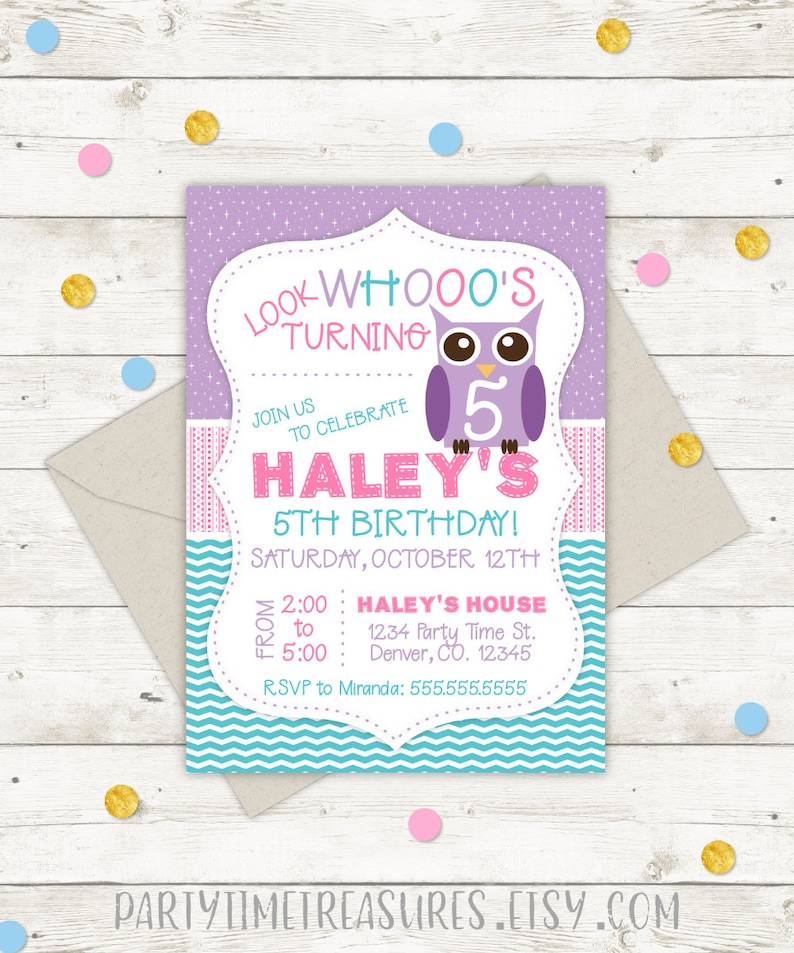 Owl Birthday Invitation Party First