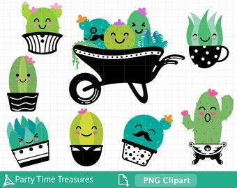 Succulent Clipart, Cute Cactus Clipart, Desert Plant Clipart, Png - PT1384