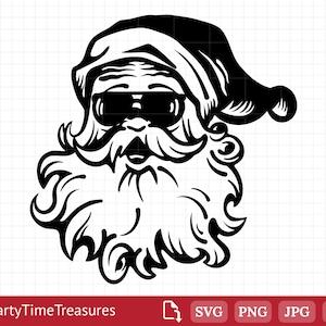 Cool Santa SVG surfing santa DFX sunglass santa download hipster santa clipart