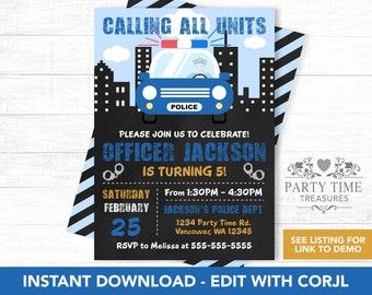 Police Birthday Invitation - Police Party Invite - Police Officer Party - Police Party Invitation - Printable Invitation - PT1095