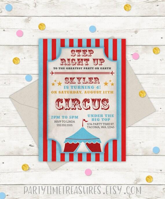 Zaproszenie Na Urodziny Cyrku Impreza O Tematyce Cyrku Cyrk Etsy