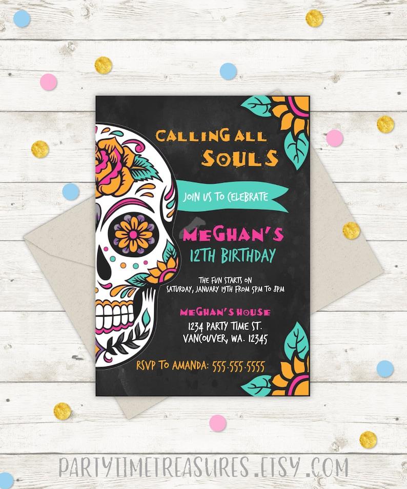 Sugar Skull Birthday Invitation Halloween