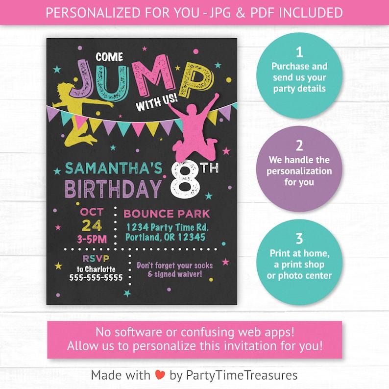Trampoline Park Birthday Invitation For Girls