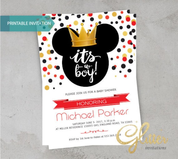 Mickey mouse red prince boy baby shower invitation printable etsy image 0 filmwisefo