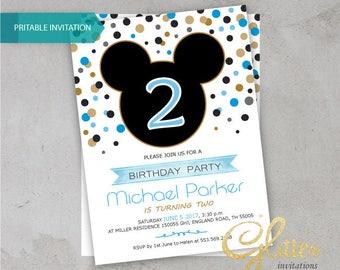 Mickey Mouse birthday invitation,digital printable pdf,Boy birthday,